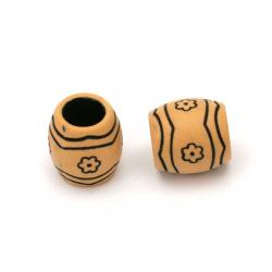 Мънисто Антик цилиндър 15x15 мм дупка 8.5 мм цвят кафяв -50 грама ~30 броя