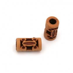 Мънисто Антик цилиндър 15x9 мм дупка 4 мм цвят оранжев -50 грама ~75 броя