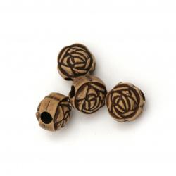 Мънисто Антик топче роза 10 мм дупка 3 мм цвят кафяв -50 грама ±85 броя