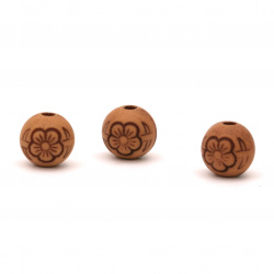 Antique acrylic ball bead with flower 8 mm hole 2 mm color brown - 50 grams ~ 135 pieces