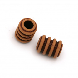 Мънисто Антик цилиндър 15x11 мм дупка 6 мм цвят кафяв -50 грама ~45 броя