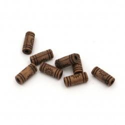 Мънисто Антик цилиндър 10.5x4.5 мм дупка 2 мм цвят кафяв -50 грама ~295 броя