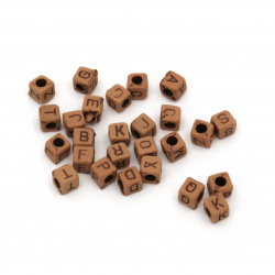 Мънисто Антик куб с букви 6x6.5x6.5 мм дупка 3 мм -50 грама ±210 броя