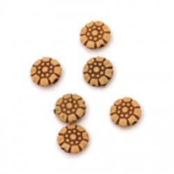 Мънисто Антик кръг цвете 10x5 мм дупка 2 мм цвят кафяв -50 грама ~185 броя