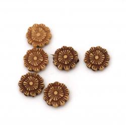 Мънисто Антик цвете 10x4 мм дупка 2 мм цвят кафяв -50 грама ~225 броя