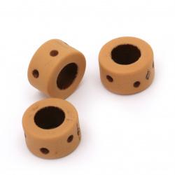 Мънисто Антик шайба 14x8 мм дупка 7 мм цвят оранжев - 50 грама ~40 броя