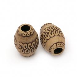 Margele Antique oval 16x11,5 mm gaură 4 mm culoare maro - 50 grame ~ 35 bucăți