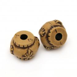 margele Butoi antic 16x13 mm gaură 4 mm culoare maro - 50 grame ~ 28 bucăți