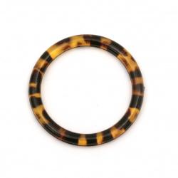 Халка прозрачна 38.5x4 мм без дупка цвят жълто-кафяв -2 броя
