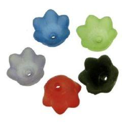 Χάντρα λουλούδι 10x6 mm τρύπα 1,5 mm ματ MIX-20 γραμμάρια ~ 92 τεμάχια