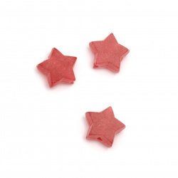 Мънисто прозрачно звезда 10x11x4 мм дупка 2 мм матирано цвят червен -50 грама ~220 броя