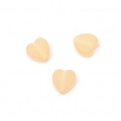 Καρδιά διάφανη χάντρα 9x8,5x4 mm τρύπα 2 mm ματ χρώμα πορτοκαλί -50 γραμμάρια ~ 280 τεμάχια