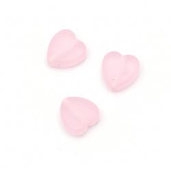 Мънисто прозрачно сърце 9x8.5x4 мм дупка 2 мм матирано цвят розов -50 грама ~280 броя