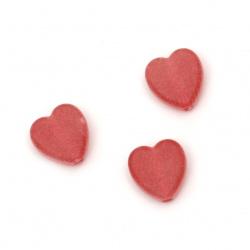 Καρδιά διάφανη χάντρα  9x8,5x4 mm τρύπα 2 mm ματ χρώμα κόκκινο -50 γραμμάρια ~ 280 τεμάχια