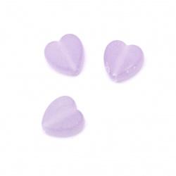Καρδιά διάφανη χάντρα  9x8,5x4 mm τρύπα 2 mm ματ χρώμα μωβ -50 γραμμάρια ~ 280 τεμάχια