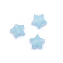 Мънисто прозрачно звезда 10x11x4 мм дупка 2 мм матирано цвят син -50 грама ~220 броя