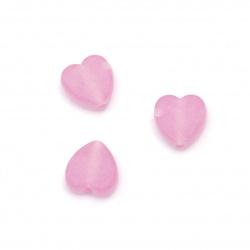 Мънисто прозрачно сърце 9x8.5x4 мм дупка 2 мм матирано цвят розово-лилав -50 грама ~280 броя
