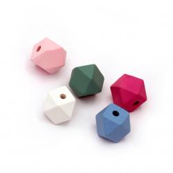 Мънисто дървено многоъгълник 15x15 мм дупка 3~4 мм цвят МИКС -5 броя