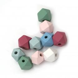 Мънисто дървено многоъгълник 12x12 мм дупка 3 мм цвят МИКС -10 броя