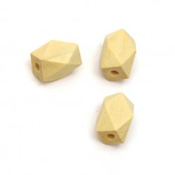 Мънисто многоъгълно дървено 22x15 мм дупка 4 мм цвят натурален -5 броя