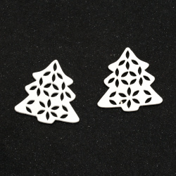 Wooden figurine in the shape of a Christmas tree 34x33x2 mm white color - 10 pieces