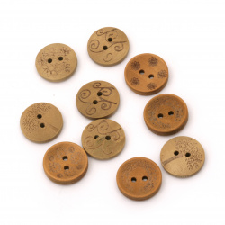 Копче дървено 20x5 мм дупка 2 мм цвят натурален -10 броя