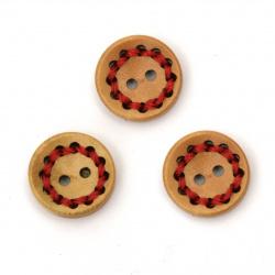 Ξύλινο κουμπί 15x4 mm τρύπα 1,5 mm χρώμα κόκκινο -10 τεμάχια