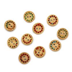 Ξύλινο κουμπί 15x4 mm τρύπα 1,5 mm χρώμα MIX -10 τεμάχια
