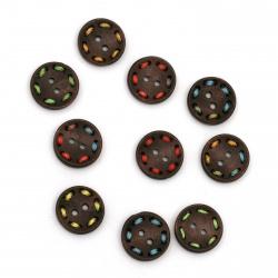 Ξύλινο κουμπί  κύκλος18x4 mm  τρύπα  1,5 mm χρώμα MIX -10 τεμάχια