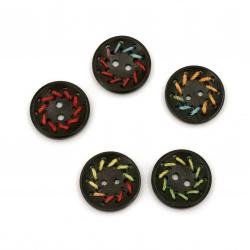 Ξύλινο κουμπί κύκλος 22,5x4,5 mm τρύπα 2 mm χρώμα  MIX -5 τεμάχια