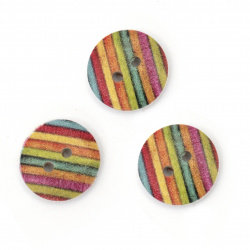Ξύλινο κουμπί 15x4 mm τρύπα 2 mm χρώμα μιξ -10 τεμάχια