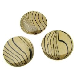 Wooden Beads, Oval with Printed Pattern 31 mm, hole 6 mm - 4 pieces