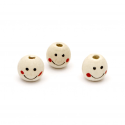 Natural Unfinished Wooden Round Face Beads, Doll Heads, Smile 13x14 mm, hole 4 mm - 50 pieces