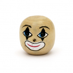 Natural Unfinished Wooden Round Face Bead, Clown Head  25x24 mm with, hole 10.5 mm - 2 pieces