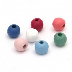 Мънисто дърво топче 9x10 мм дупка 3 мм МИКС -20 грама ~64 броя