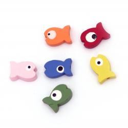 Painted natural wooden  fish bead 12x19x6 mm hole 2 mm double-sided, Assorted colors - 20 grams ~ 29 pieces