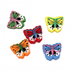 Painted natural wooden butterfly bead 26x29x5 mm hole 2 mm Assorted colors - 20 grams ~ 14 pieces