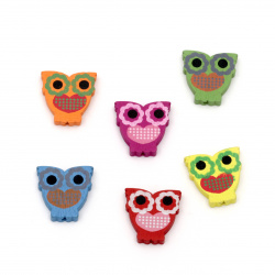Painted natural wooden owl bead 23x23x5 mm hole 2 mm Assorted colors - 20 grams ~ 22 pieces
