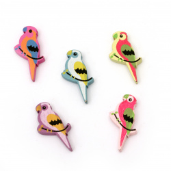 Painted natural wooden parrot bead 31x18x4.5 mm hole 2 mm Assorted colors - 20 pieces