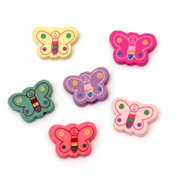 Painted natural wooden butterfly bead 18x25x5 mm hole 2 mm Assorted colors - 20 pieces