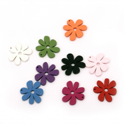 Colorful wooden pendant flower 33x35x4 mm hole 1 mm MIX - 10 pieces