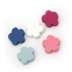 Colorful natural wooden flower bead 19x19x6 mm hole 2 mm MIX - 20 grams ~ 20 pieces