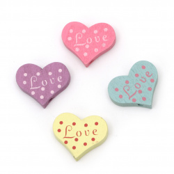 Painted natural wooden heart bead 19x23x5 mm hole 2 mm MIX - 10 pieces