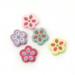 Painted natural wooden flower bead 18±19x19±20x6 mm hole 2 mm MIX - 10 pieces
