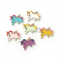 Painted natural wooden unicorn bead 22x16x5 mm hole 2 mm Assorted colors - 10 pieces