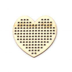 Wooden Figurine heart base for embroidered jewelry 50x49.5x2 mm hole 2 mm - 2 pieces