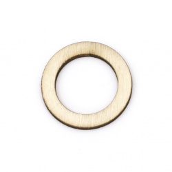 Wooden circle 30x2.5 mm hole 20 mm natural wood color - 5 pieces