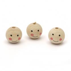 Мънисто дърво топче усмивка 23.5x25 мм дупка 5 мм цвят дърво -5 броя