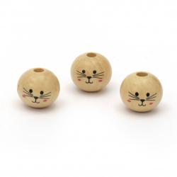 Мънисто дърво топче усмивка 18x20 мм дупка 5 мм цвят дърво -10 броя