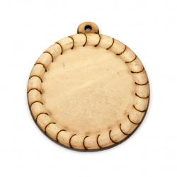 Baza din lemn pentru medalion gaura de 43x4,5 mm 1,5 mm culoare lemn -2 buc